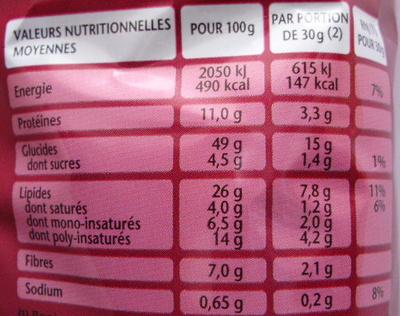 Pop Corn Apéro, Goût Barbecue - Voedingswaarden - fr