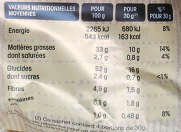 Chips à l'Ancienne saveur Moutarde à l'Ancienne - Informations nutritionnelles