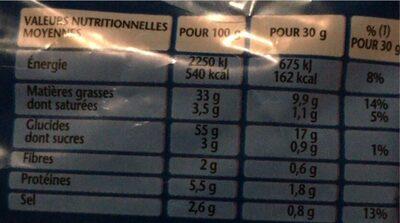3D's Bugles goût Nature (format familial) - Valori nutrizionali