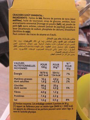 Apéros Cracks goût emmental cuits au four - Informations nutritionnelles
