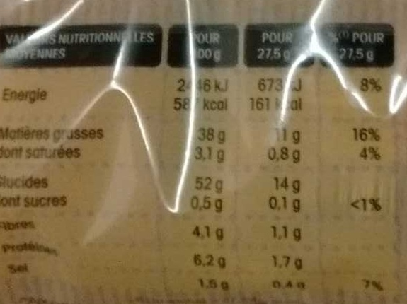 Chips Paysannes - Nutrition facts - fr