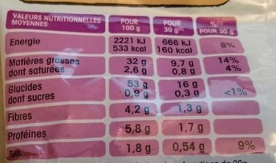 Chips lays vinaigre - Informations nutritionnelles