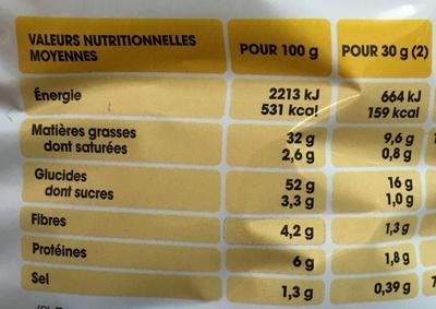 Saveur Moutarde Pickles (maxi format) - Informations nutritionnelles