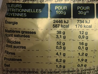 Chips paysannes - Nutrition facts