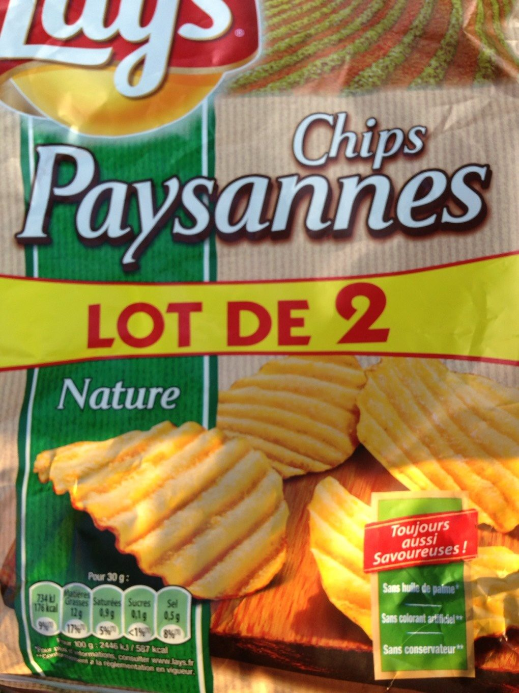 Chips lay's paysannes nature 2x150g - Product - fr