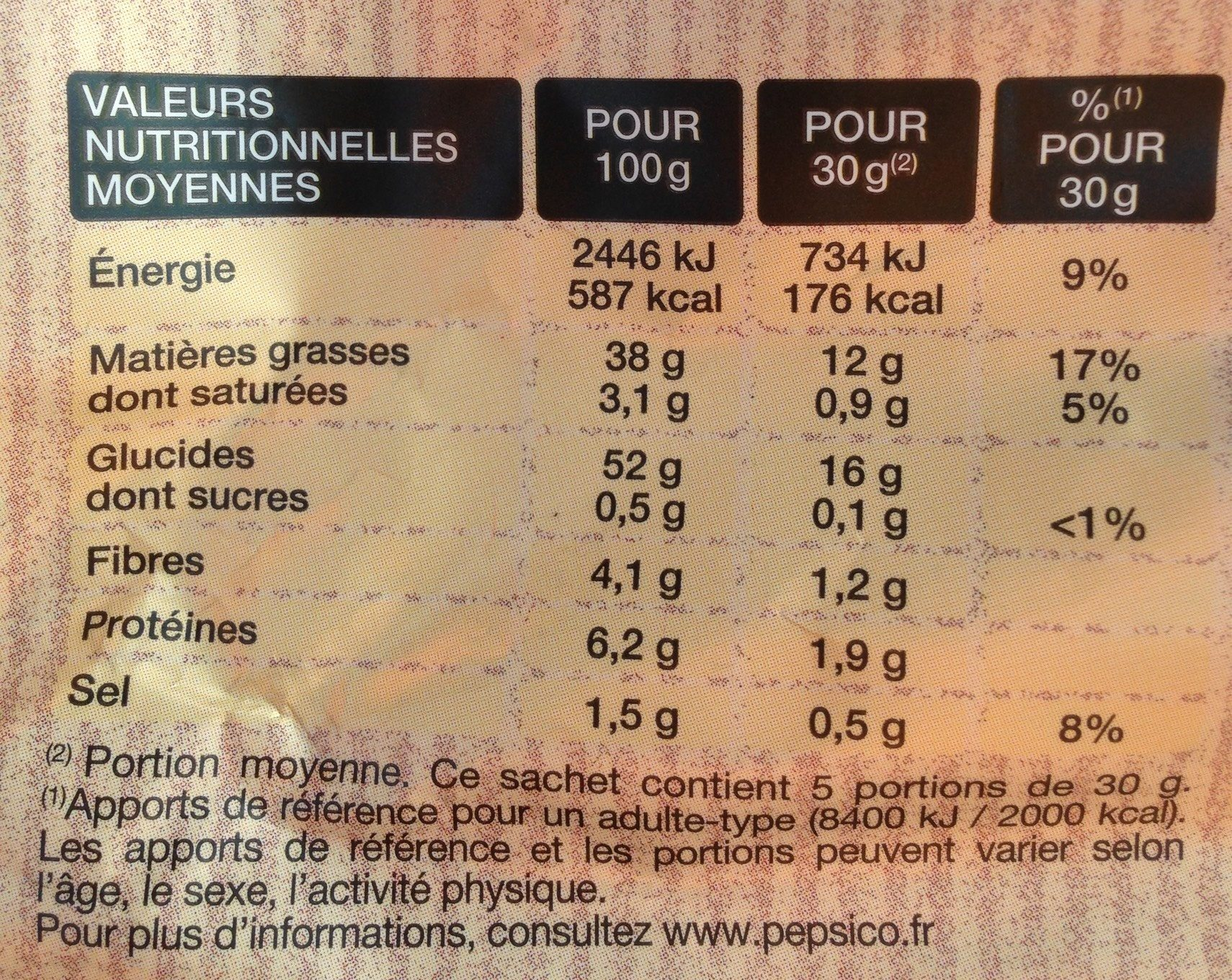 Chips lay's paysannes nature 2x150g - Nutrition facts - fr