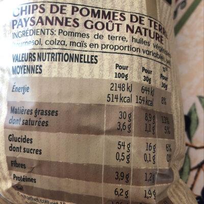 Lay's Chips paysannes nature format familial - Nutrition facts - en