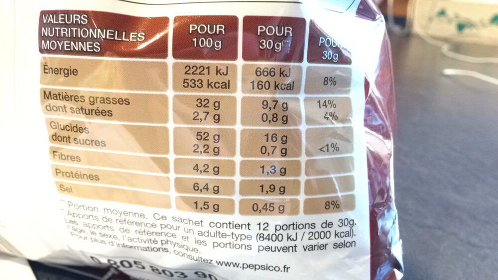 Chips lay's poulet roti 360g sachet refermable - Informations nutritionnelles - fr