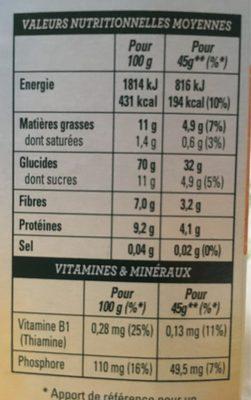 Golden Crisp - Pépites Croquantes - Miel et amandes - Informations nutritionnelles - fr