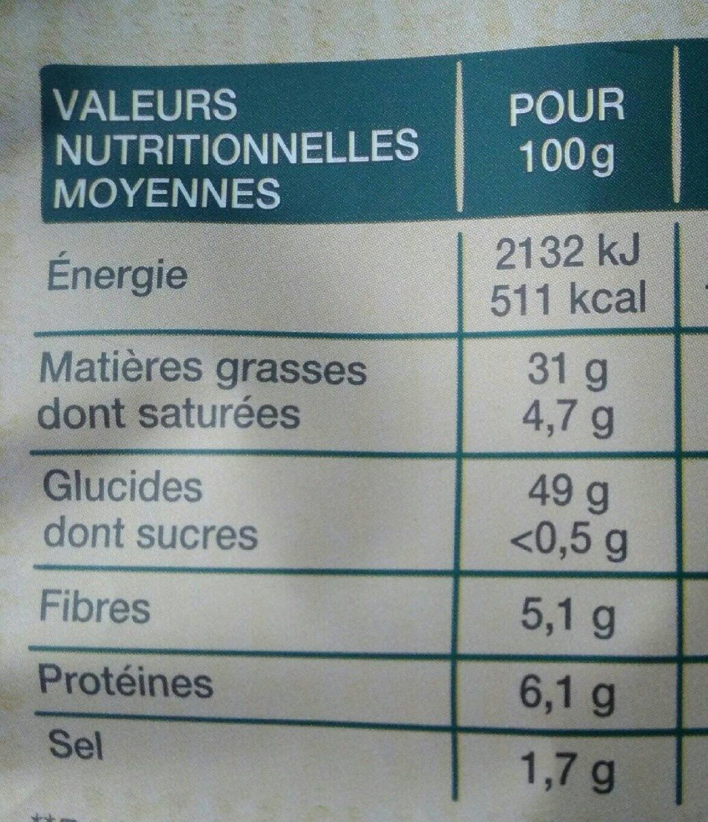 Lay's Méditerranéenne 100% huile d'olive nature format familial - Informations nutritionnelles - fr