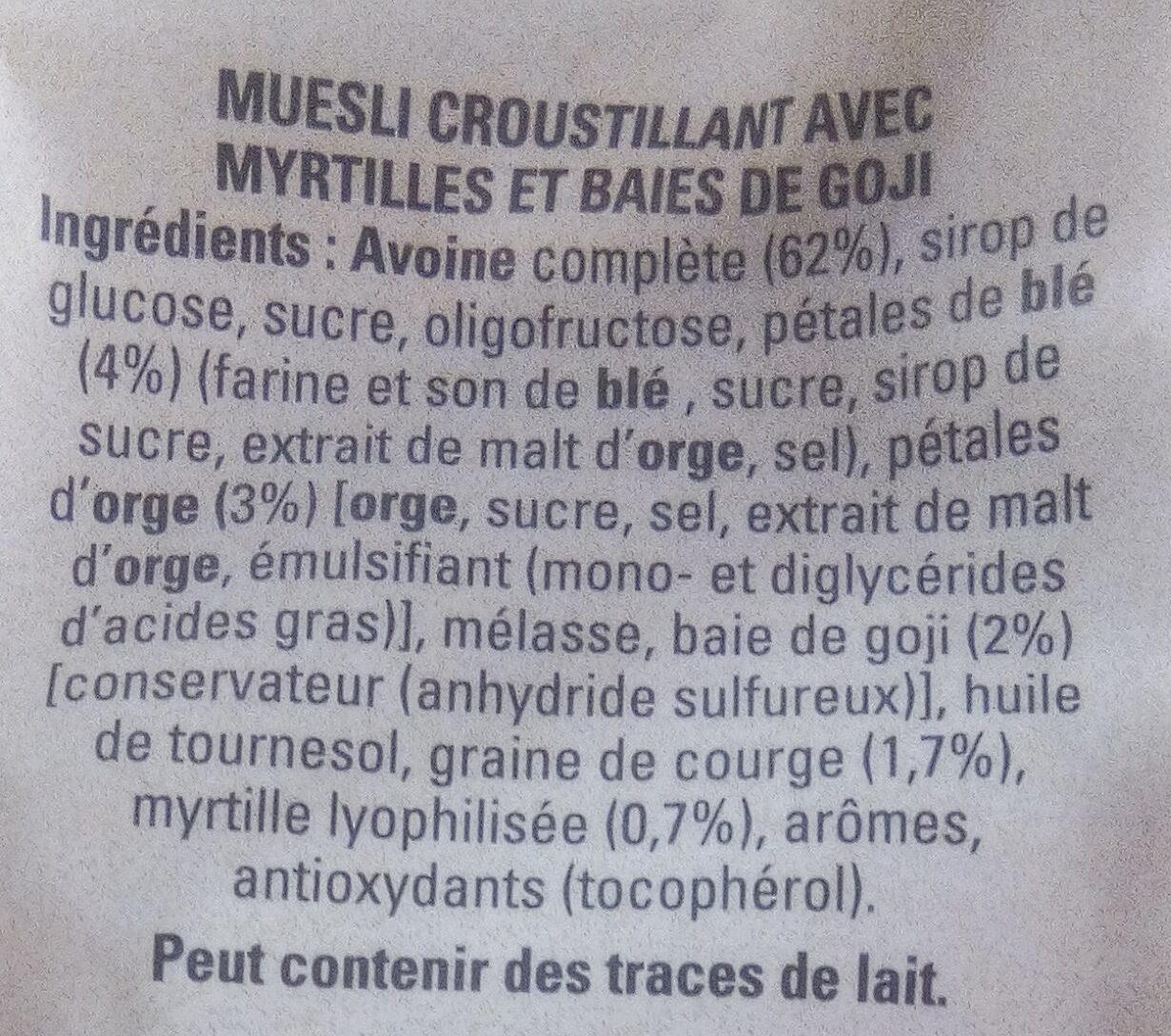 Muesli Croustillant Myrtilles & Baies de Goji - Ingredients