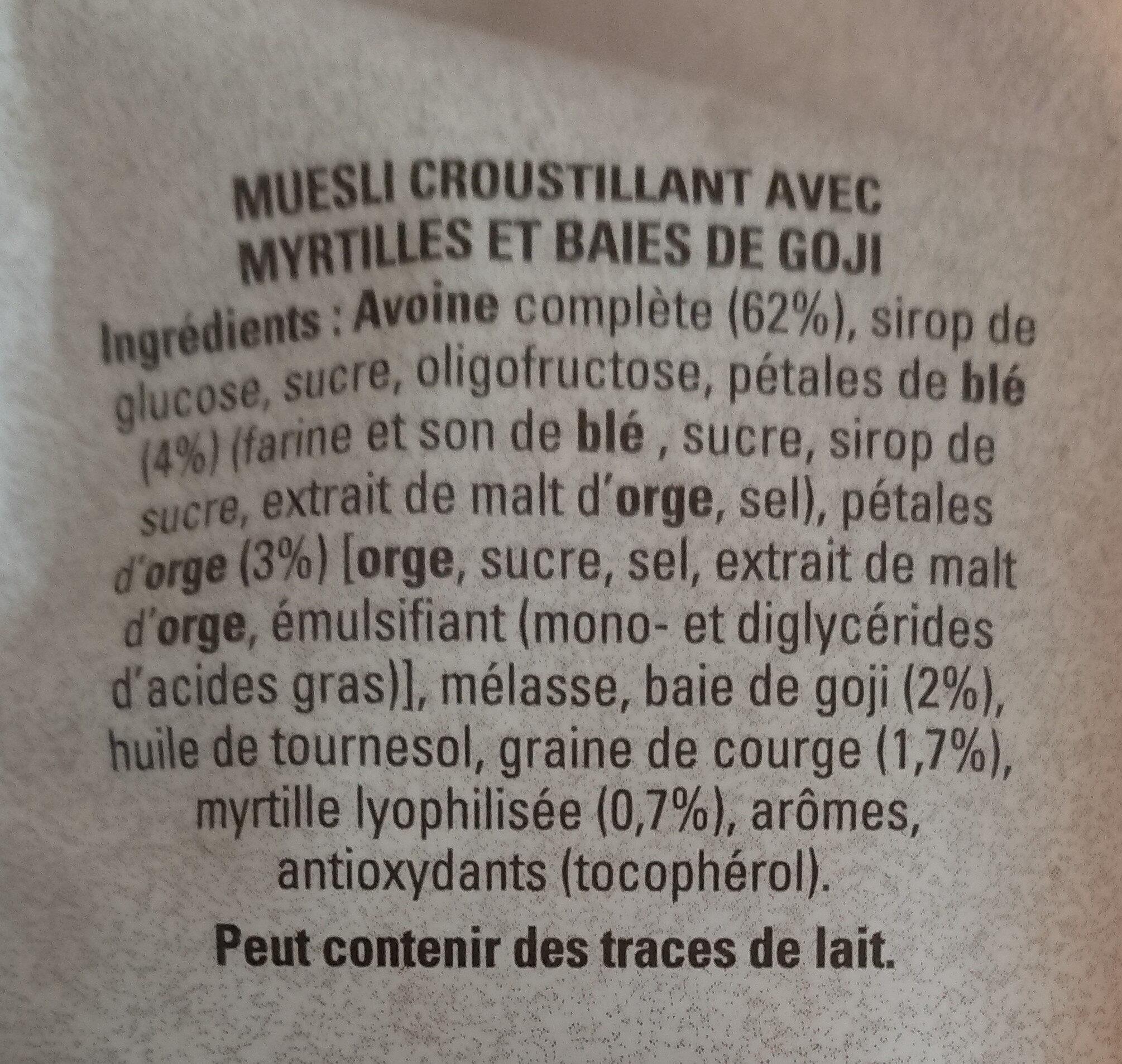 Quaker Muesli Croustillant Myrtilles & baies de goji - Ingrediënten - fr