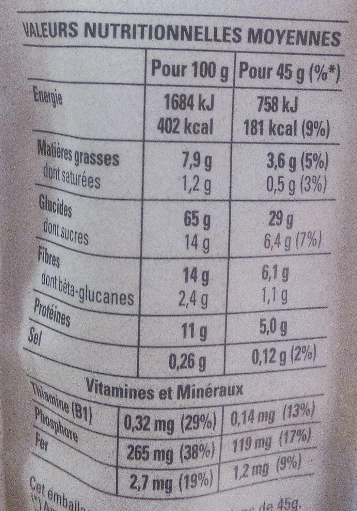 Muesli Croustillant Myrtilles & Baies de Goji - Nutrition facts
