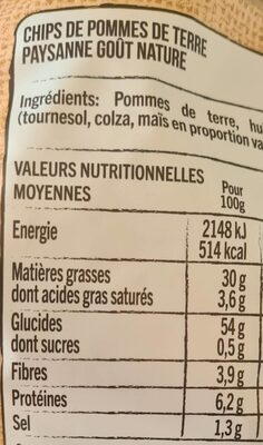 Chips paysannes nature - Nutrition facts - fr