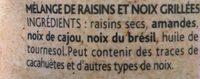 Plaisir Brut non salé 3 noix et raisins - Ingrediënten