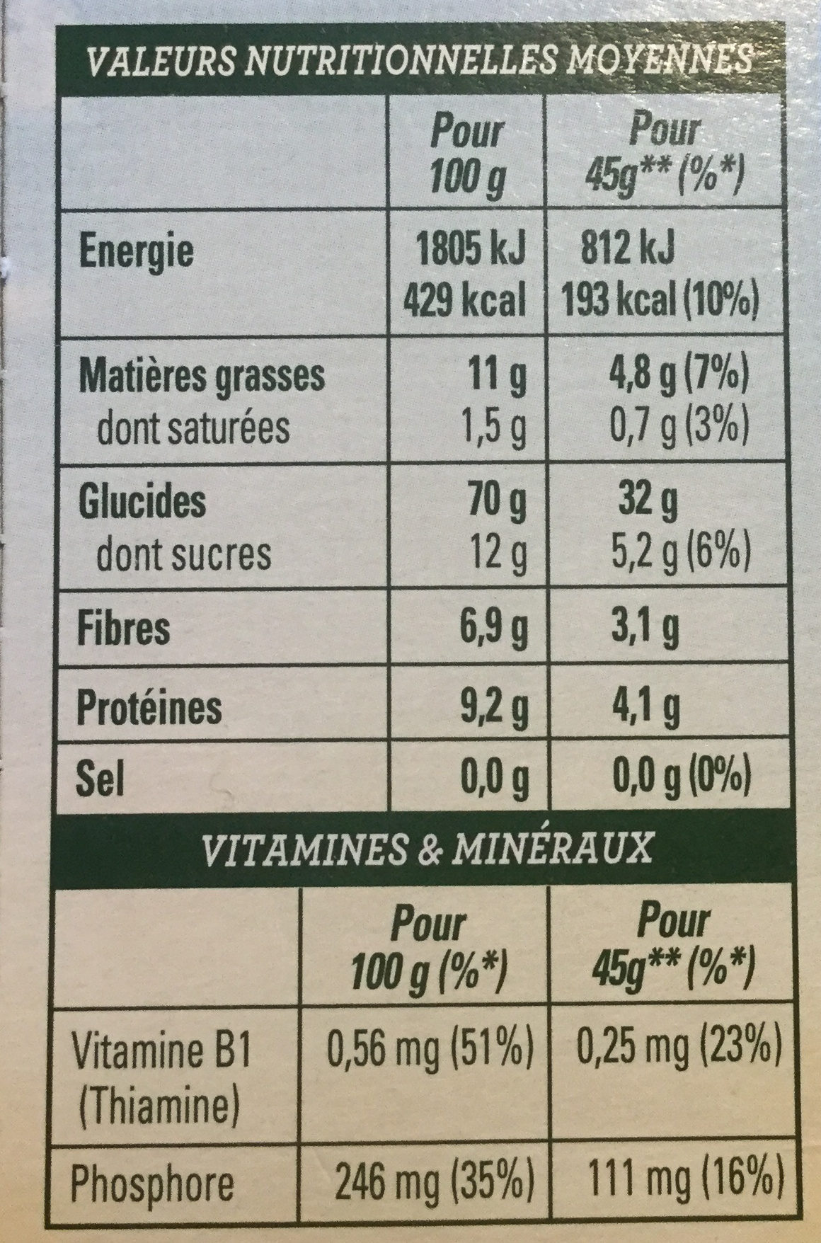 Golden Crisp Noisettes, amandes et graines de courge - Voedingswaarden - fr
