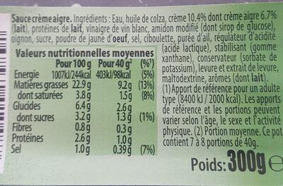 Doritos Sour cream - Ingrédients - fr