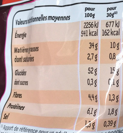 Chips nature - Nutrition facts