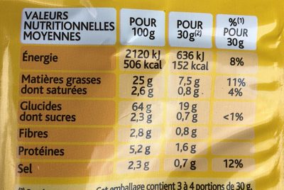 Mix - Informations nutritionnelles