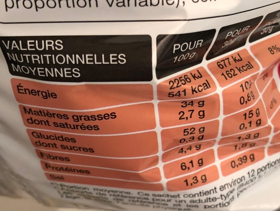 Chips nature maxi format - Informations nutritionnelles - fr