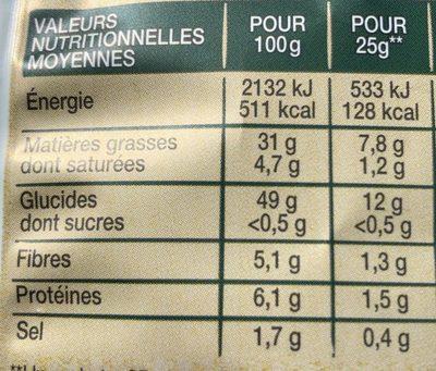 Chips méditerranéenne 100% huile d'olive nature - Nutrition facts - fr
