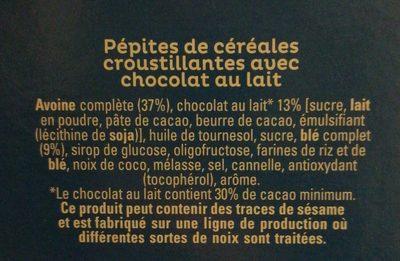 Cruesli Chocolat au Lait - Ingrédients - fr