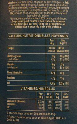 Quaker Cruesli Chocolat au lait maxi format - Voedingswaarden - fr