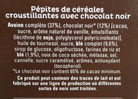 Quaker Cruesli Chocolat noir format spécial - Ingrédients - fr