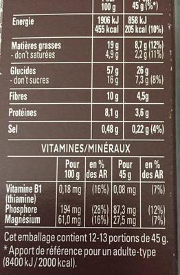 Quaker Cruesli Chocolat noir format spécial - Informations nutritionnelles - fr