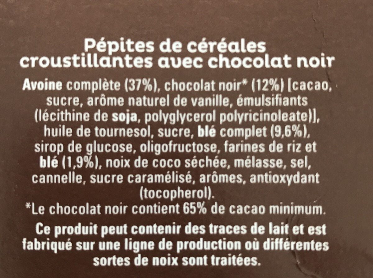 Cruesli Chocolat noir - Ingredients