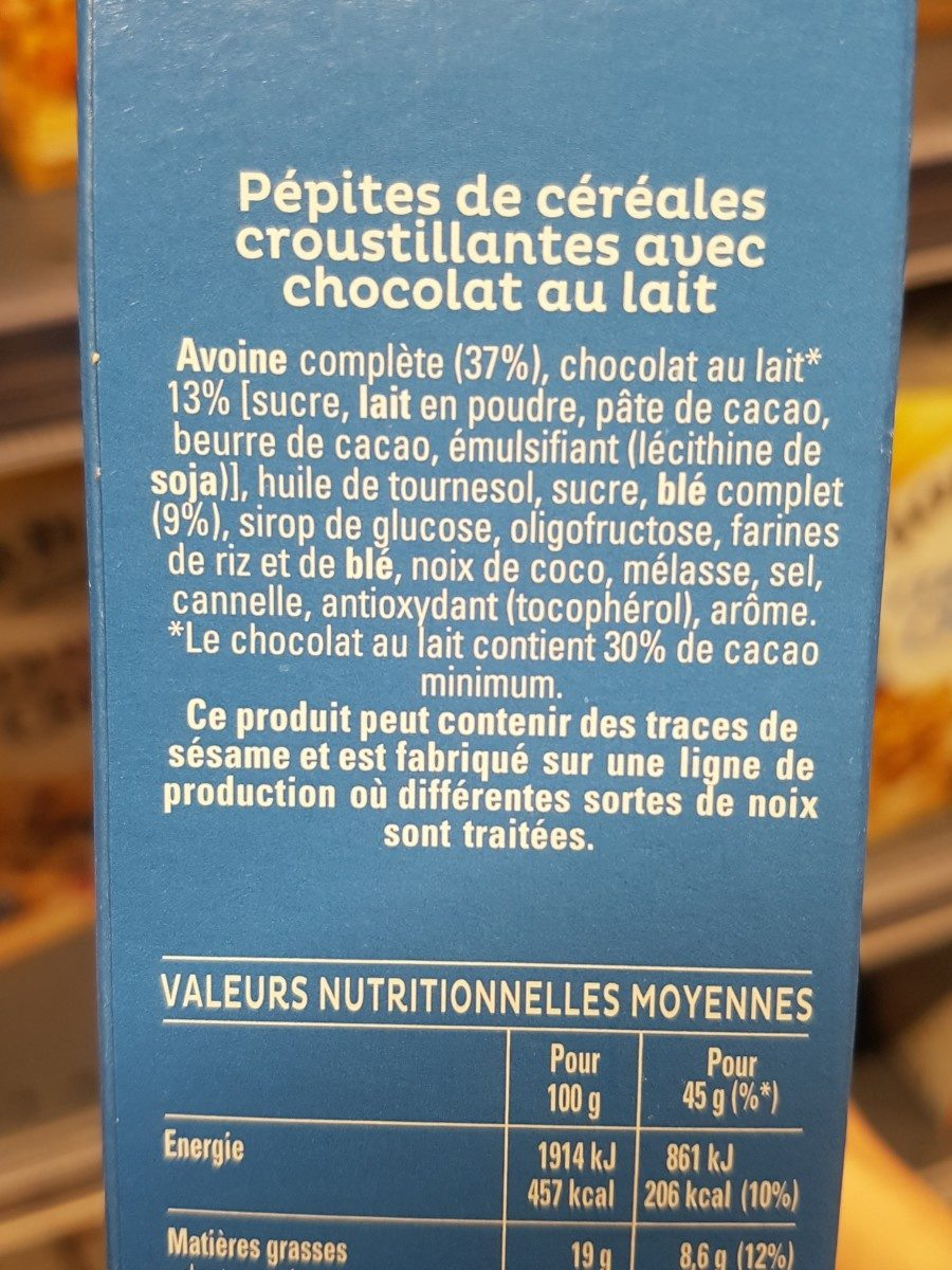 Cruesli chocolat au lait - Ingrediënten