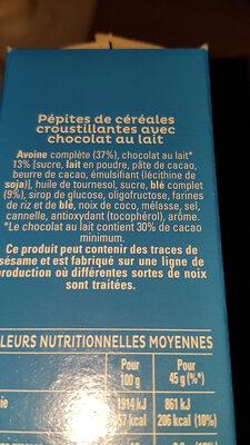 Quaker Cruesli Chocolat au lait - Ingredientes - fr