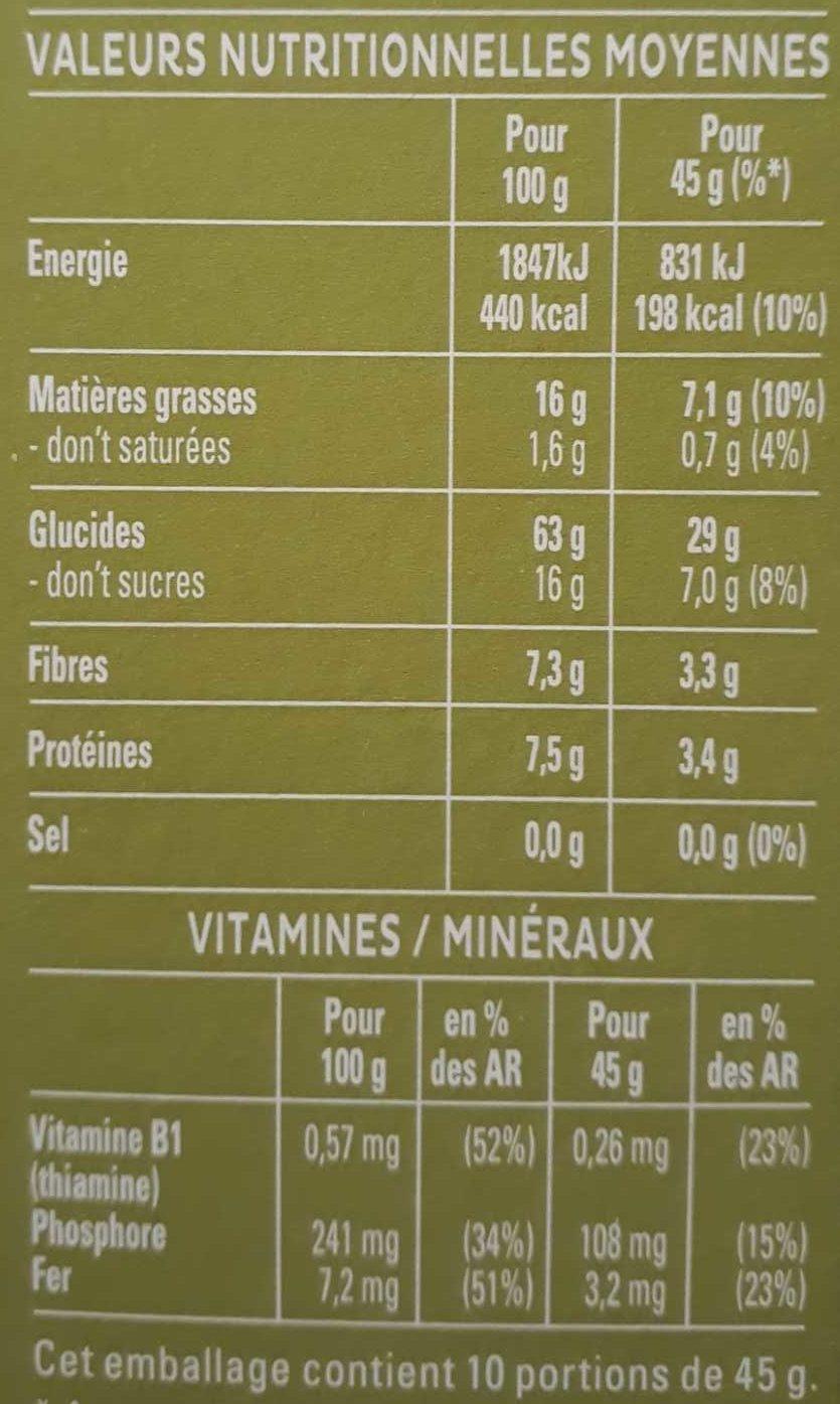 Cruesli - Noix de pécan & pomme - Voedingswaarden - fr