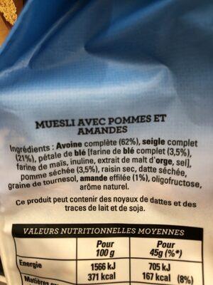 Golden Muesli (pommes, amandes) - Ingrediënten - fr