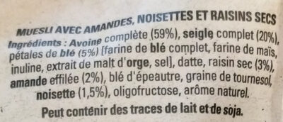 Golden muesli (amandes, noisettes, raisins) - Ingredients - fr