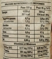 Golden muesli (amandes, noisettes, raisins) - Nutrition facts - fr