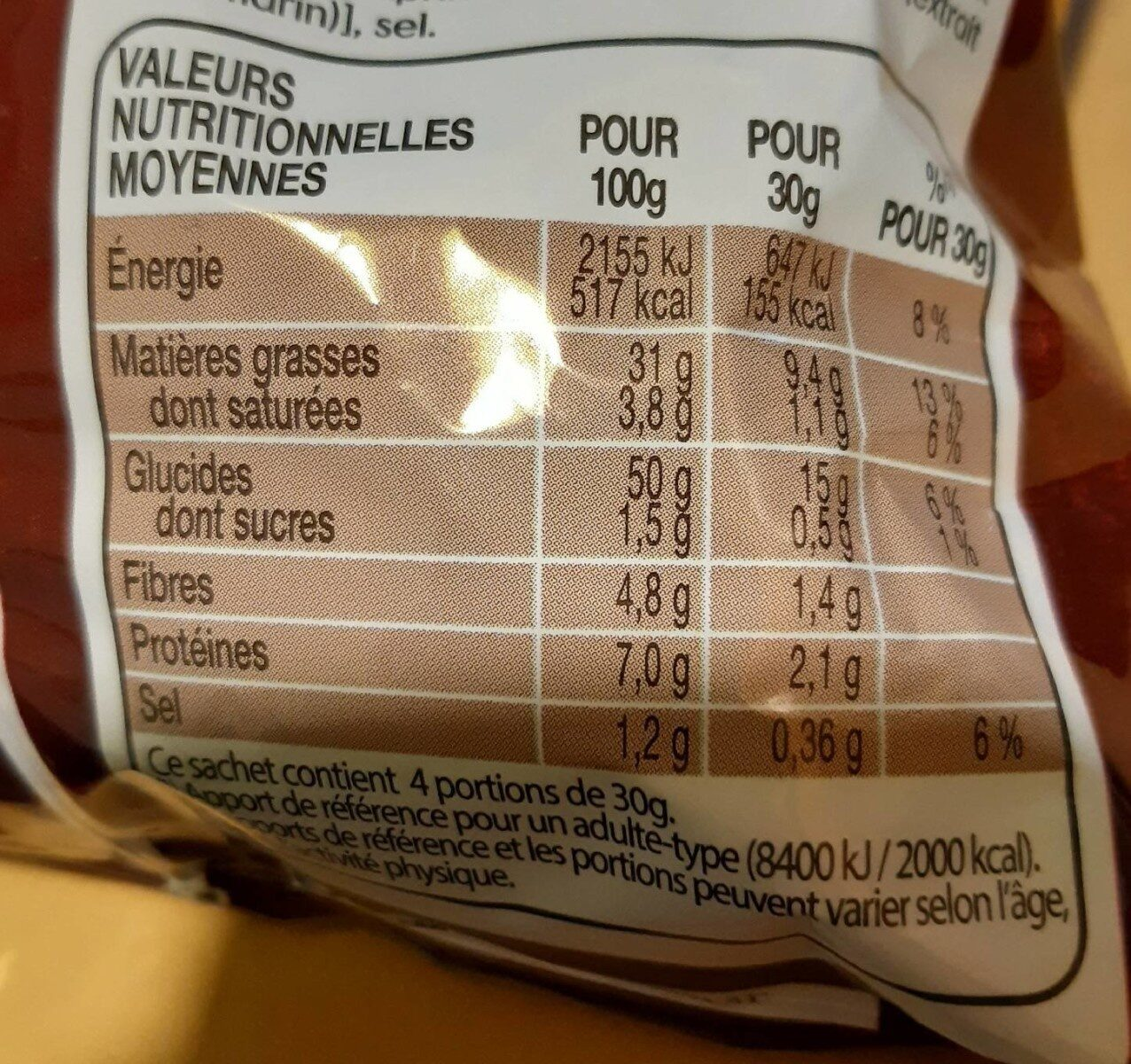 Lay's max saveur poulet aux herbes - Valori nutrizionali - fr