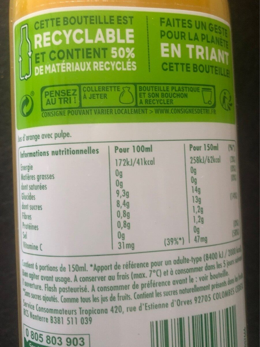 Tropicana Orange avec pulpe - Informations nutritionnelles - fr