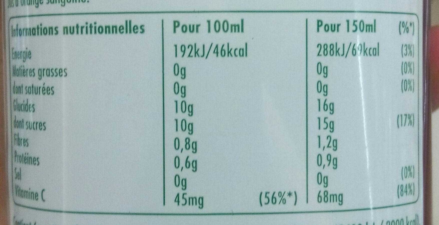 Sanguinello - Voedingswaarden - fr