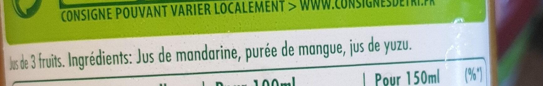 Tropicana Mandarine Mangue Yuzu - Ingrediënten - fr