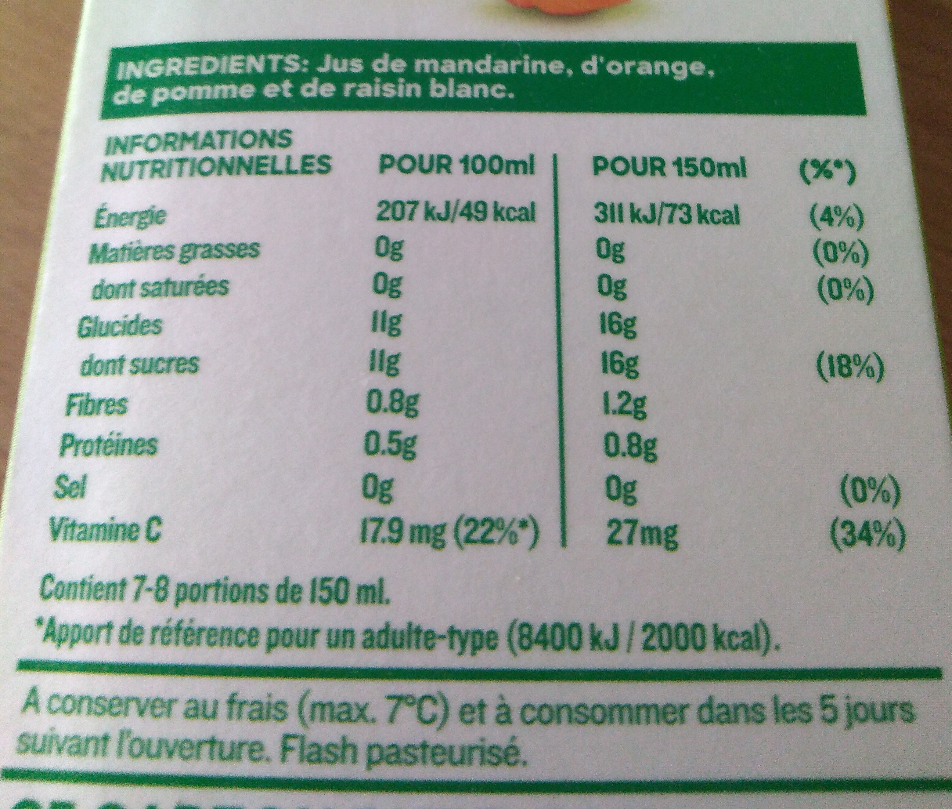 Tropicana pure premium - Nutrition facts