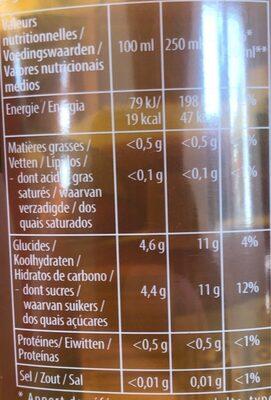Thé infusé glacé bio saveur pêche de Méditerranée - Nutrition facts - fr