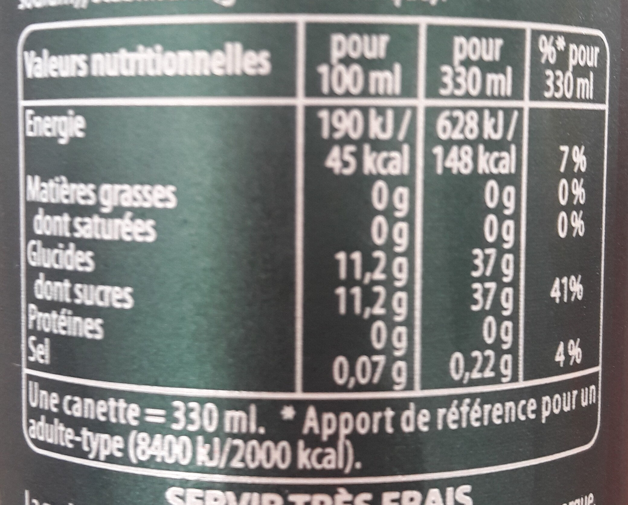 SEVEN UP saveur Mojito - Informations nutritionnelles - fr