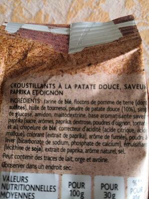 Plaisir Brut Croustillants patate douce, papika - Ingredients - fr