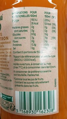 Tropicana bio carotte orange citron - Valori nutrizionali - fr
