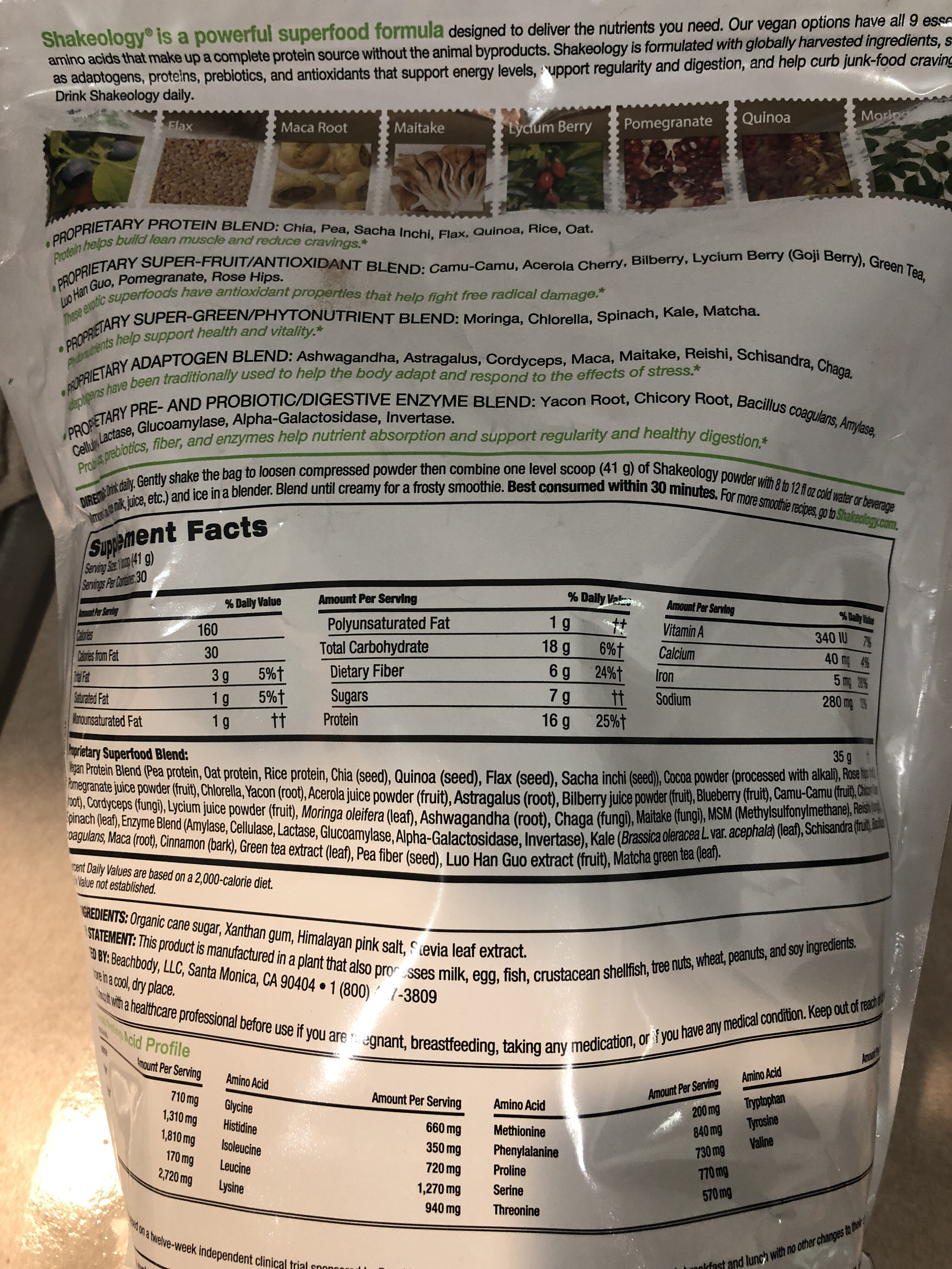 Shakeology - Nutrition facts
