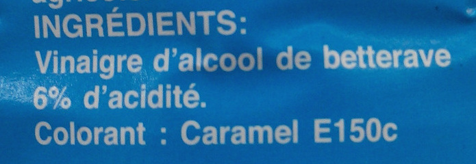 Vinaigre d'alcool coloré 6° - Ingrediënten - fr