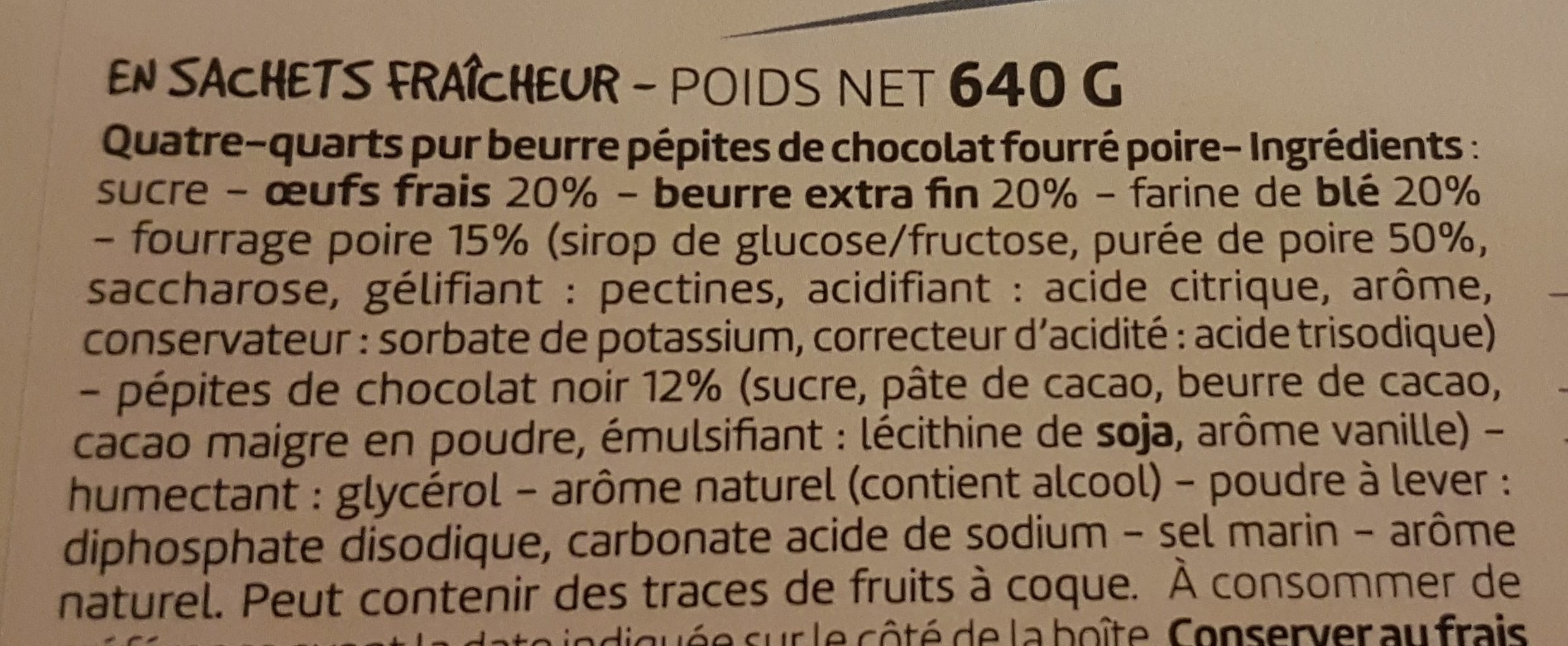Quatre-quarts poire chocolat - Ingredients