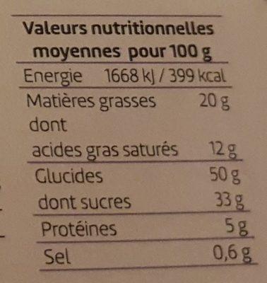 Quatre-quarts poire chocolat - Nutrition facts