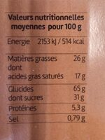 Galette Fines Pur Beurre - Nutrition facts - fr